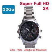 Cyber Express Electronics - Montre Mini caméra Espion 32 Go 2K Super Full HD 2304 x 1296p Détection de Mouvement CEL-DWF-74S-32