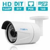 Reolink RLC-410S 4MP HD Fixed Lens PoE Bullet IP Security Camera, with 16G Micro SD Card Built-in, Night Vision, Waterproof, Plug and Play