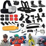 Xtech® GoPro HERO Ultimate 33 Piece Accessory Kit for GoPro HERO4 Hero 4, Hero3+ Hero 3+, HERO3 Hero 3, HERO2 Hero 2, HD Motorsports HERO, Surf Hero, GoPro Hero2 Outdoor Edition Digital Cameras Includes: Chest Strap Mount+2 J-hooks+Head Strap Mount+Car Suction-cup Mount+Handheld Monopod+Bike Mount+Camera Mount+Helmet Mount+Remote Control Wrist Strap+Floating Bobber Handle+Table Tripod+2 Screen Protectors+Lens Cap Keeper+Deluxe Cleaning Kit