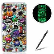 Samsung Galaxy J510/J5 2016 TPU Case Coque Samsung Galaxy J510/J5 2016 Gel Housse Feeltech [Gratuit Stylet Pen] Luminous Effect Noctilucent Green Glow in the Dark Matte White Ultra Slim Soft Rubber Shock Absorber Flexible Bumper Protective Cover Skin Shell pour Apple Samsung Galaxy J510/J5 2016 with Stylish Unique Colourful Printed Pattern Design - Peinture Graffiti