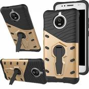 Coque G5s, [Ultra Armor] Housse Etui TPU Silicone [Rotation de 360°]Double Couche Protection Cover Kickstand Bumper Case pour Moto (G5s, Or)