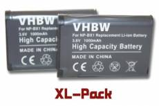 2 x Batterie 1000mAh vhbw pour Caméra Sony Handycam HDR-CX405, HDR-PJ240E, HDR-PJ410, Sony Action Cam HDR-AS20, HDR-AS200V, HDR-AS100VR comme NP-BX1