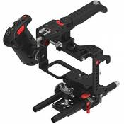 JTZ DP30 Camera Cage Base Plate DSLR Rig & Handle pour Panasonic Lumix GH3 GH4 GH5 (Camera Cage Rig+Electronical Handle Grip)