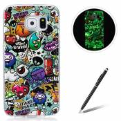 Samsung Galaxy S6 TPU Case Coque Samsung Galaxy S6 Gel Housse Feeltech [Gratuit Stylet Pen] Luminous Effect Noctilucent Green Glow in the Dark Matte W