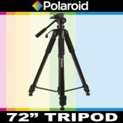 Trépied Photo / Vidéo 182 cm de Polaroid, inclut un sac de transport de luxe + un plateau rapide supplémentaire pour appareils photo et caméscopes num