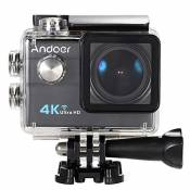 "Andoer​ Ultra HD Action Sports Camera 2.0"" LCD 16MP 4K 25FPS 1080P 60FPS 4X Zoom WiFi 25mm 173 Degreés Wide-Lens étanch 30M voiture DVR DV Cam plongée"