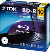 TDK Blu-ray BD-R Disk for PC Data | 25GB 4x Speed 10 Pack (Japanese Import)