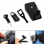 Fantaseal® Sac Support Kit Sac Clip Backpack Clip Backpack Support Sac Mount Ceinture Clamp Mini Sac Clamp bacpac Clip Mount 360 degrés Rotation Support pour GoPro Fixation GoPro Support GoPro Sac Fixation GoPro Sac Support GoPro Sac Clip GoPro Sac Mount Chapeau Clip pour Hero 5 Black/ 4 /3+/3/ Session SJCAM SJ4000 SJ4000WIFI SJ5000 DBPOWER QUMOX ICEFOX VIC TSING KIPTOP MAOZUA TOPJOY Akaso Apeman et GoPro-Like Action Caméras + Voyage Zip Serrure Sécurité Zip Cadenas