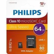 Philips 64GB Micro SDXC Card + Adapter Class 10