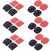 XCSOURCE® 12 pcs plat Supports et courbé Supports + 3M adhésif Tapis Set pour Gopro Hero 4 3+ 3 2 1 OS180
