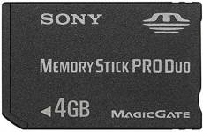 Sony Memory Stick (MS) Pro Duo 4 Go MagicGate Carte Mémoire