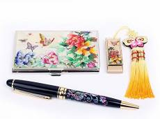 SET DUO DECOR NACRE Cle USB 8GB Samsung 2.0 + Boitier Metal Carte de visite + Stylo Noir Retractable Ink Ball Point PIVOINES