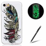 IPhone 7 4.7 Inch TPU Case Coque iPhone 7 Gel Housse Feeltech [Gratuit Stylet Pen] Luminous Effect Noctilucent Green Glow in the Dark Matte White Ultr