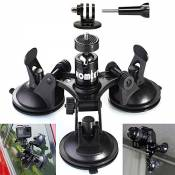 Homeet Voiture Ventouse Auto Support à Ventouse Fixation Mount Caméra Auto Triple Suction Cup pour GoPro Hero 6/5/4/3+/3/ Session/ YI / Campark / SJCA