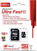eMemoryCards 16GB Ultra Fast 80MB/s MicroSD Memory Card For Lenovo K3 Note Mobile | SD Adapter included