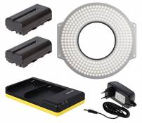 F&V HDR-300 Se LED Ring Light + Power Supply + 2X NP-F550 Batteries + USB Dual Charger Travel