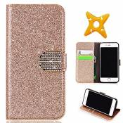 MAOOY iPhone 6sPlus Cuir Coque, iPhone 6Plus Luxury Bling Glitter Case, Wallet Flip Cover Fente Carte et Support Stand pour iPhone 6Plus/6sPlus, Gold