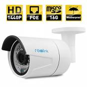 Reolink RLC-410S-LB IP Camera, 4-Megapixel 1440P POE Security IP Camera Outdoor Bullet, Night Vision 65-100ft , Built-in 16GB Micro SD Card, Viewing Angle 80¡ã 2560x1440