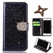 MAOOY iPhone 6sPlus Cuir Coque, iPhone 6Plus Luxury Bling Glitter Case, Wallet Flip Cover Fente Carte et Support Stand pour iPhone 6Plus/6sPlus, Noir