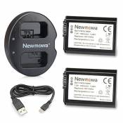 Newmowa Double USB Chargeur + 2 Batteries FW50 pour Sony FW50 and Sony Alpha a3000, Alpha a5000