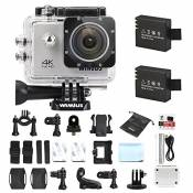 Camera Sport, WiMiUS Q1 Action Cam 4k Full HD 16MP WIFI Etanche 40M, Camera Embarquée Sport 170° Grand Angle Kit d'accessoires + 2 Batteries (Argent)
