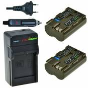 Chili Power BP-511, BP-511 A Kit : 2 x Batterie + Chargeur pour Canon EOS 5D, 10D, 20D, 20DA, 30D, 40D, 50D, 300D, D30, D60, Rebel, PowerShot G1-> g6,