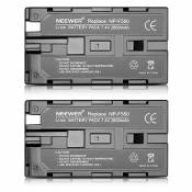 Neewer (2Pack) 7.4V 2600mAh Rechargeable Li-ion Battery Pack remplacement pour Sony NP-F550 / 570/530, Compatible avec Handycams Sony, Neewer Nanguang CN-160, CN-216, CN-126 Series LED et Chromo Inc., Polaroid Autres LED sur l'Appareil Photo Torches Vidéo Utilisation de NP-F550 Batteries