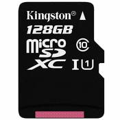 Kingston SDCX10/128GB Carte micro SDHC/SDXC Classe 10 UHS-I de 128Go vitesse minimum de 10MB/s avec adaptateur SD