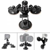 Fantaseal® Triple Ventouse Voiture, Ventouse Fixation DSLR Ventouse à Support avec Gopro Adapteur Tête Rotule Rotatif de Triple, Car Suction Mount pou