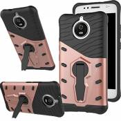 Coque G5s, [Ultra Armor] Housse Etui TPU Silicone [Rotation de 360°]Double Couche Protection Cover Kickstand Bumper Case pour Moto (G5s, Or Rose)