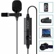 Maono Lavalier Micro, Lapel Mic mains libres avec condensateur omnidirectionnel pour appareil photo, DSLR, iPhone, Android, Samsung, Sony, PC, ordinat