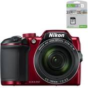 NIKON COOLPIX B500 - Appareil photo numérique Bridge - Bluetooth - Rouge + PNY Carte mémoire Offerte SD 32Go Elite C10 U1 O