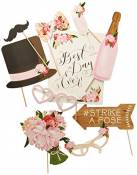 Ginger Ray Vintage Style Mariage Photo Booth Props-10 Lot
