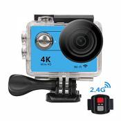 VIGICA H9R Waterproof Sport Action Camera 4K Wifi 1080P/60fps 2.0 LCD 170 degree with 2.4G Remote Batteries for Swimming Riding Surfing Bike Motorcycle Blue