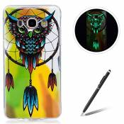 Samsung Galaxy J510/J5 2016 TPU Case Coque Samsung Galaxy J510/J5 2016 Gel Housse Feeltech [Gratuit Stylet Pen] Luminous Effect Noctilucent Green Glow in the Dark Matte White Ultra Slim Soft Rubber Shock Absorber Flexible Bumper Protective Cover Skin Shell pour Apple Samsung Galaxy J510/J5 2016 with Stylish Unique Colourful Printed Pattern Design - Owl Dream Catcher