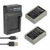 Newmowa® Batterie BLN-1 (2) et Chargeur Micro USB Portable Kit pour Olympus BLN-1, BCN-1 and Olympus OM-D E-M1, OM-D E-M5, PEN E-P5,OM-D E-M5 II (2 ba