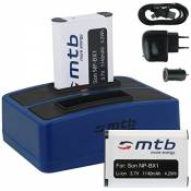 2x Batterie + Double Chargeur (USB/Auto/Secteur) pour Sony NP-BX1 / Sony Action Cam HDR-AS10, AS15, AS20, AS30(V), AS50(V/R), AS100V, AS200V / FDR-X10