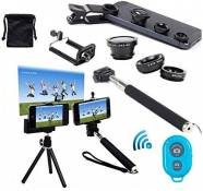 AFAITH Professionnel 6 en 1 Kit Lentille Smartphone Universel Objectif fisheye à 180°+ Objectif Grand Angle + Objectif Macro + Selfie Pôle Stick Monopode + Trépied + Support de fixation pour iPhone 6s,6s Plus 6s 6 5 4 , Samsung Galaxy S7 S7 edge S6 S5 S4 S3, Note 4 5 , LG G4 G3 , Sony Z2 Z3 compact ultra , HTC one m7 m8 , Huawei Honer P7 P8 et Autre Android