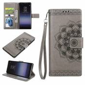 Bescita Ultra Slim Layered Etui Flip Cover Housse en cuir pour Samsung Galaxy Note 8, gris