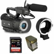 Kit Camcorder GY-LS300 JVC 4K Ready CMOS super35 - Ultra HD 24/30p 150Mbps + 1 Battery + 1 Memory Card Sandisk 64Gb - 95Mb + Adapter AF Canon EF - Son
