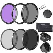 Neewer 77mm Filtre Kit pour Canon 24-105mm, 10-22mm, 17-40mm et Nikon 28-300, Zoom Objectifs: 77mm Filtre(UV, CPL, FLD) + Filtre ND (ND2, ND4, ND8)+Sa