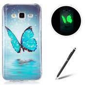 Samsung Galaxy J5/J5 2015 TPU Case Coque Samsung Galaxy J5/J5 2015 Gel Housse Feeltech [Gratuit Stylet Pen] Luminous Effect Noctilucent Green Glow in the Dark Matte White Ultra Slim Soft Rubber Shock Absorber Flexible Bumper Protective Cover Skin Shell pour Apple Samsung Galaxy J5/J5 2015 with Stylish Unique Colourful Printed Pattern Design - Bleu papillon