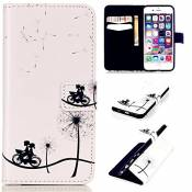 tkshop Case Cover pour iPhone 6 Plus/iPhone 6S Plus Coque Étui de protection Coque rigide ultra-fine avec fonction support et cuir PU Bookstyle Étui portefeuille poches à revêtement anti-chocs Magnetic Ferme pour iPhone 6 Plus/iPhone 6S Plus 5.5drucken Motif roses de couleur rose + Crayon Touch Rouge