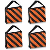 Neewer Lot de 4 Noir/Orange résistante pour sac de sable pour Studio Photo Video Stage Film de selle de sable pour pieds de trépied à perche
