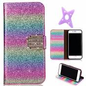 MAOOY iPhone 6sPlus Cuir Coque, iPhone 6Plus Luxury Bling Glitter Case, Wallet Flip Cover Fente Carte et Support Stand pour iPhone 6Plus/6sPlus, Color