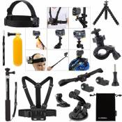 Luxebell Kit 14in1 accessoires Bundle pour Sony Action Cam HDR-AS15 / AS20 / AS30V / AS100V / AS200V