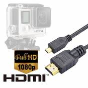 LuxeBell® Micro HDMI pour GoPro Hero 4 / Gopro Hero 3+ / Gopro Hero 3 - Cable Micro HDMI Version 1.4 - longeur 1,5 mètre - Type D Blindé - Highspeed -