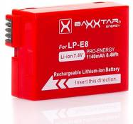 BAXXTAR PRO-ENERGY Batterie pour Canon LP-E8 (1140mAh) avec Chip technology - Intelligent battery system pour Canon EOS 550D 600D 650D 700D