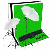 BPS Support Kit de Fond Photo Studio 2 Parapluies d'Eclairage diffuseurs avec 2 Monture Universelle total 1250W E27 5500K Ampoules et 3x1.6m Kit Fond