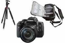 Canon EOS 750D reflex 24.2 mpix + objectif Canon EF-S 18-135mm f/3.5-5.6 IS STM + sac photo professionnel + trépied